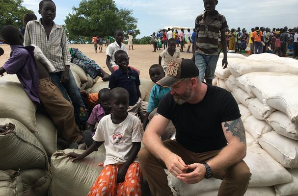 James at African food distribution point